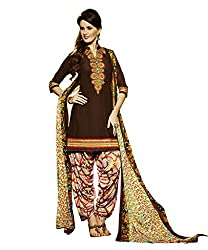 Shopeezo Brown Colored Pure Cotton Cambric Embroidered Dress Material