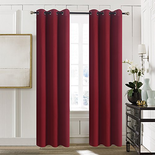 Aquazolax Premium Grommets Thermal Blackout Drapery Solid Curtain Panels Christmas for Sliding Glass Doors, 2 Panels, 42