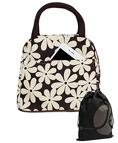 Large White and Brown Daisy Lunch Bag Tote with Zipper and Handle - 1