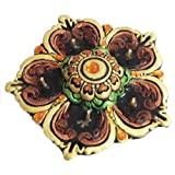 "Dolls Of India ""Hand Painted Acrylic Stone Studded Panchamukhi Flower Diya With Gel Wax Candle"" Terracotta And..."