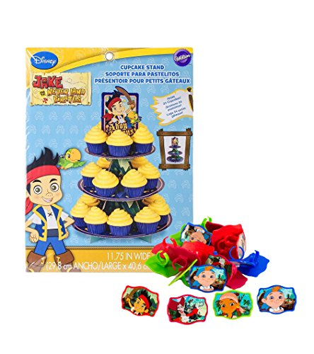 Maven Gifts: Wilton 1512-1665 Disney Jake and The Never Land Pirates Cupcake Stand with Cupcake Cake Rings Party Favors - 24 (Disney Jake And The Never Land Pirates Cupcake Stand)