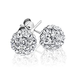 Authentic Diamond Color Crystal Ball Stud Earrings Sterling Silver 2 Carats Total Weight Special Limited Time Offer Super Sale Price, Comes with a Free Gift Pouch and Gift Box