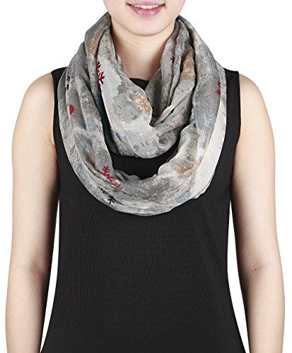 Damen Loopschal mit Schneeflocken Polyester Schlauchschal (grau) Picture