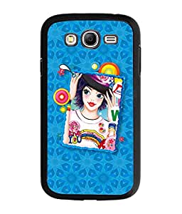 Fuson Blue Pattern Girl Back Case Cover for SAMSUNG GALAXY GRAND - D4118
