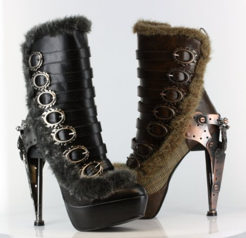 Hades Metropolis Polaro Steampunk Victorian Metal Gears Buckles Platform Ankle Boots Heels Color Brown Size 7