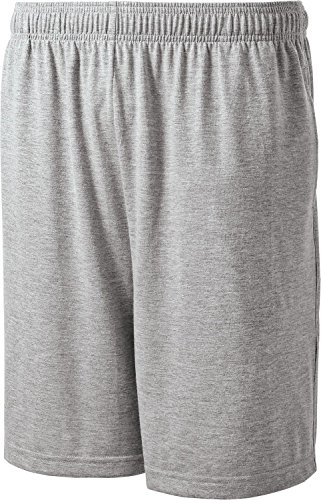 Sport-Tek - Jersey Knit Shorts With Pockets. St310 - Large - Heather Grey