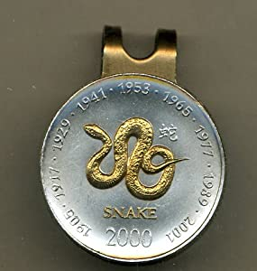 Gorgeous 2-Toned Gold on Silver Somalia Snake Coin - Golf Ball Marker - Hat Clips by J&J Coin Jewelry
