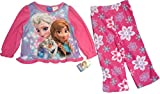 Disney Frozen Elsa Anna Olaf 2 Piece Winter Snowflake Fleece Pajama Set