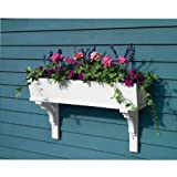 Lazy Hill Farm Designs 999024 Sunrise Cedar Window Box White with 2 Decorative Mounting Brackets, 48-Inch Width by 6-Inch Height by 7-Inch Depth