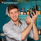 Bartender Soul Black Lite Cocktail Shaker Set, Elegant Professional 18oz Bar Drink Mixer Kit w/ Built-In Strainer, Jigger and Cocktail Recipes eBook - Excellent Gift