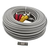 AimHD 100 Feet BNC Cable CCTV Surveillance Camera Vido/Power Extension Siamese In-wall Cords Pre-made BNC/DC Connectors All-In-One Serve For HD DVR Surveillance Recording System-Grey