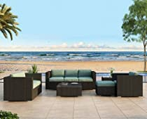 Hot Sale Urbana 5 Piece Outdoor Couch Set with All-Weather Wicker and Sunbrella Canvas Spa (5413-0000) Cushions
