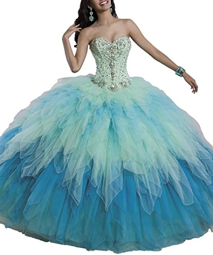 994a7bca94 Beiji Women s Tulle Quinceanera Ball Gown Crystals Cotillion Dress 8 US