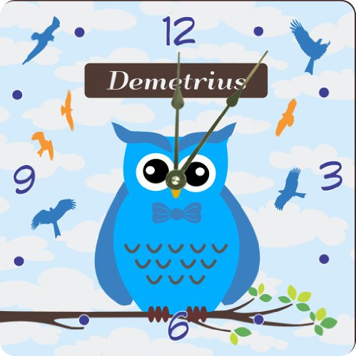"Rikki Knighttm ""Demetrius"" Name - Cute Blue Owl On Branch With Personalized Name Design 6"" Art Desk Clock"