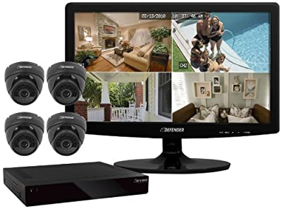 "Defender Sentinel 8CH Smart Security DVR with 4 Ultra Hi-res Indoor/Outdoor Surveillance Cameras and 19"" LED Monitor"