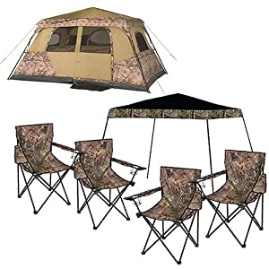 Ozark Trail Realtree Xtra 8 Person Instant Tent with Canopy and Chairs Value Bundle by Ozark Trail