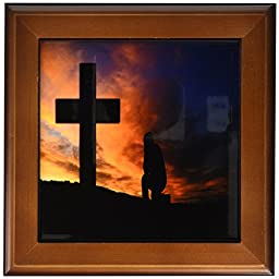 3dRose ft_180636_1 Image of Man Praying At Sunsetin Front of a Large Cross Framed Tile, 8 by 8-Inch