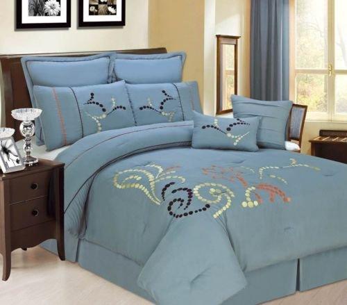 8Pc Copper Ridge Blue Queen Size Comforter Bedding Set front-977245