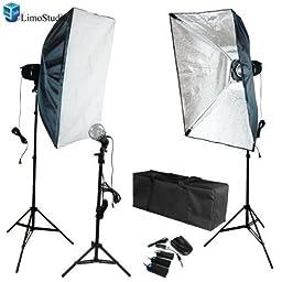 LimoStudio 405W Photography Studio Flash Lighting Kit Flash Strobe Light Softbox and Flood Flash light combo Kit, AGG1204