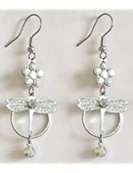 Attraction - Metal And White Stone Setting Dangle Earrings - Stone And Metal