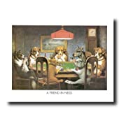 Coolidge Dogs Playing Poker At Table A Friend In Need Wall Picture 16x20 Art Print