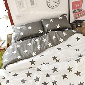 White With Gray Star Pattern Cute Bedding Sets Five Star