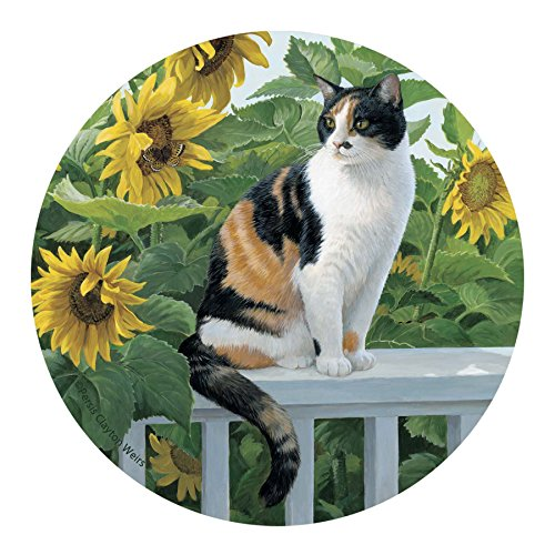 Thirstystone Drink Coaster Set, Cat and Sunflowers