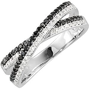 IceCarats Designer Jewelry 14K White Gold 3/8 Ctw Black And White Diamond Ring Size 6