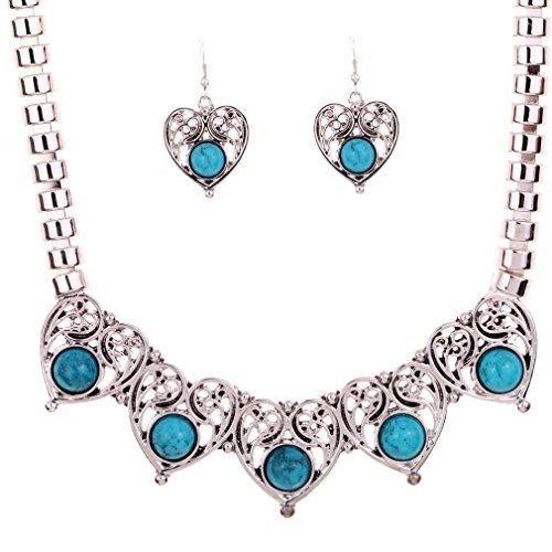 Yazilind Schmuck-Set, Silber-Look, Collier (47,5 cm) Ohrringe, Herzdesign, Blumenform, Türkis