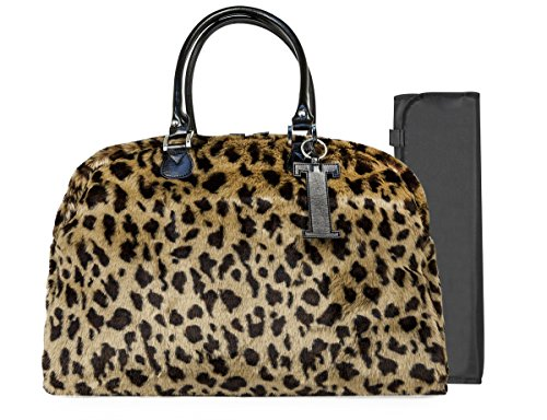 Trumpette Schleppbags Diaper Bag in Leopard Print Fur, Large - 1