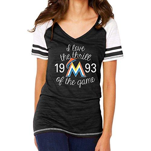 MLB Miami Marlins Women's Color Block Tee, Medium, Black
