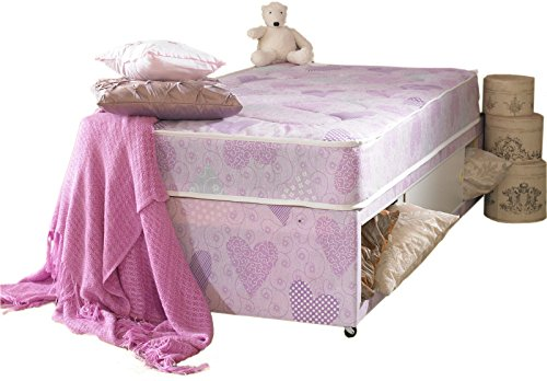 Inspirational Pink Princess Single Divan Bed Set Base And Mattress With Slider Storage x