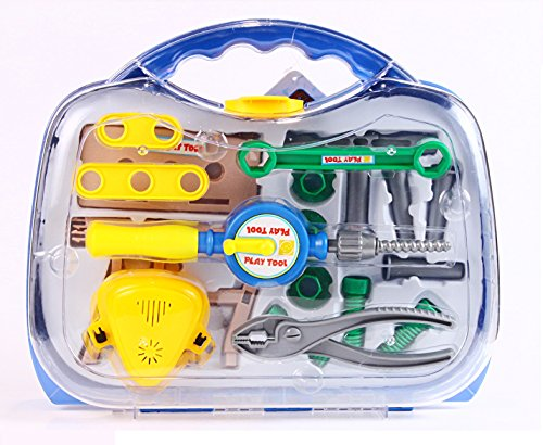 High quality Tool box set from Little Treasures – Complete with tool kit, Press drill, bits, wrench, work bench, hammer, Clamp, nuts, bolts, and screws -play set for children 3+.