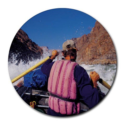 White Water Rafting Sport Round Mouse Pad