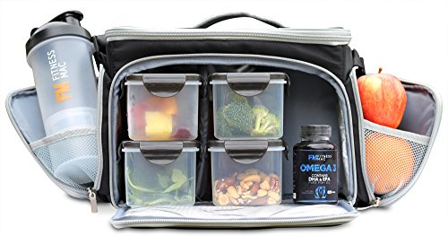 Ultimate Meal Prep Bag by Fitness Mac - Bundle Includes 4 Portion Control Containers, a Twist n' Lock Protein Shaker Cup with Vitamin & Protein Storage, and 3 Gel Packs (Black/Grey)
