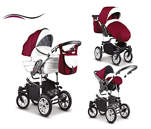16-teiliges-Qualitts-Kinderwagenset-3-in-1-Mikado-COSMO-Kinderwagen-Buggy-Autokindersitz-Schwenkrder-Mega-Ausstattung-all-inclusive-Paket-in-Farbe-C-49-WEISS-BORDEAUX