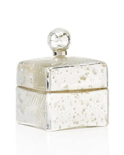 Antique Silver Square Jar with Lid
