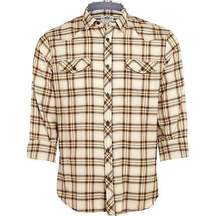 Mens Casual Shirt FITTED Brown Check WESTERN STYLE Long Roll Sleeve: S