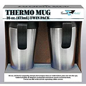 Stainless Steel 16-ounce Leak-proof Travel Mug with Handle, Thermo Mug - Two Pack