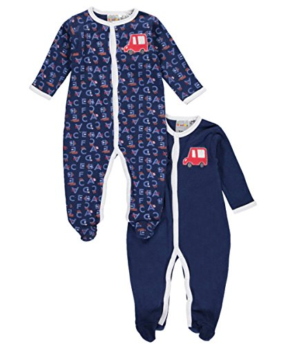 Sweet Soft Baby Boys Alphabet Road 2 Pack Footed Coveralls