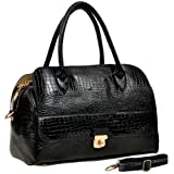 ALECIA Designer Inspired Crocodile Textured Turn-lock Décor Double Handle Doctor Style Bowler Office Tote Satchel Handbag Purse Convertible Shoulder Bag