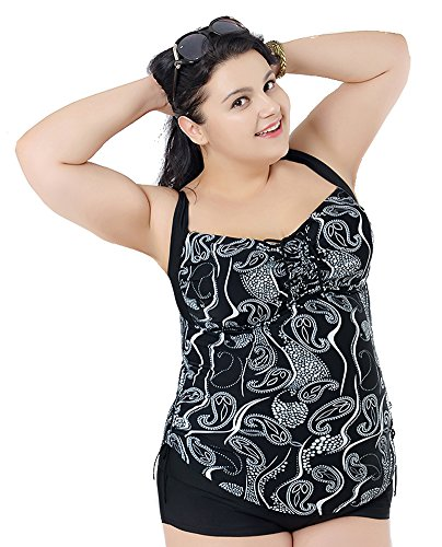 2c84a2d7f2934 YX Women's Tankini & Shorts Swimwears Set (2 Piece),Super Plus Size Backless