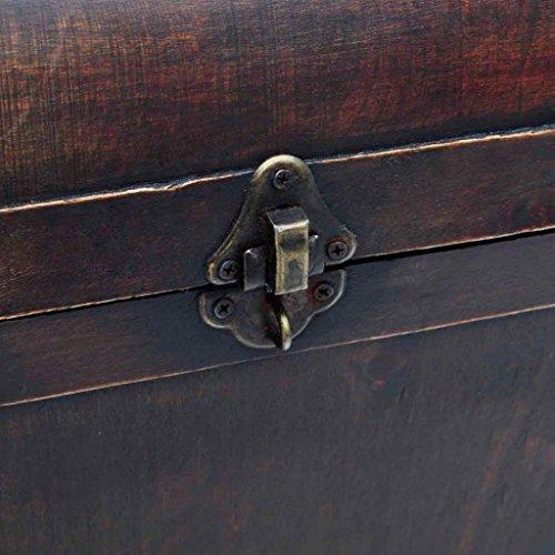 Large Wood Treasure Storage w/ Drawer Blanket Steamer Chest Vintage Coffee Table 3