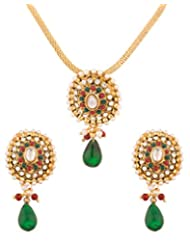Voylla Oval Green Drop Golden Pendant Set With Chain