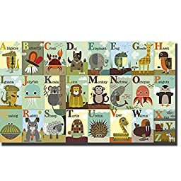 Alphabet Zoo by Jenn Ski Premium Oversize Gallery-Wrapped Canvas Giclee Art (Ready to Hang)