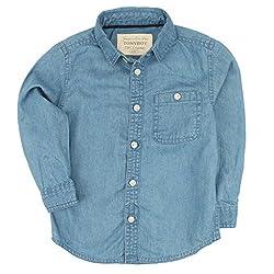 TONYBOY Boys Solid Denim Shirt (Blue)