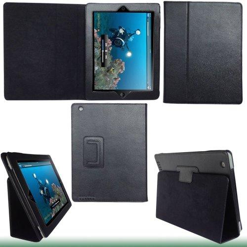 【JAPANNEXT】Apple 新しいipad (Ipad3) /iPad2専用スタンド機能付スリムレザー ケース (ブラック)