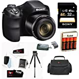 Sony Cyber-shot DSC-H300 B Compact Zoom Digital Camera in Black + Sony 32GB Class 10 Secure Digital Memory Card + Carrying Case + 4 AA Rechargeable Batteries w Charger + Accessory Kit