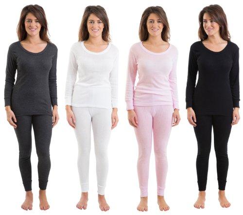 Set Of 4 Colours Womens/Ladies Thermal Underwear Set Long Sleeve Vest & Long Pants Rib Jacquard, Various Sizes