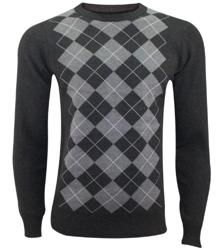 NEW Diamante da uomo a maniche lunghe maglione pullover girocollo M -2x l maglione Top grigio X-Large